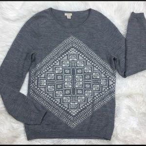 J. Crew Factory geometric graphic merino Sweater